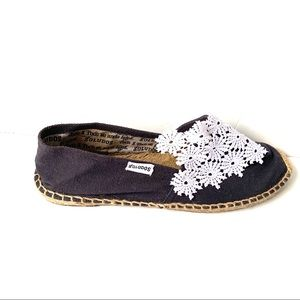 SOLUDOS NAVY LACE TRIMMED ESPADRILLES